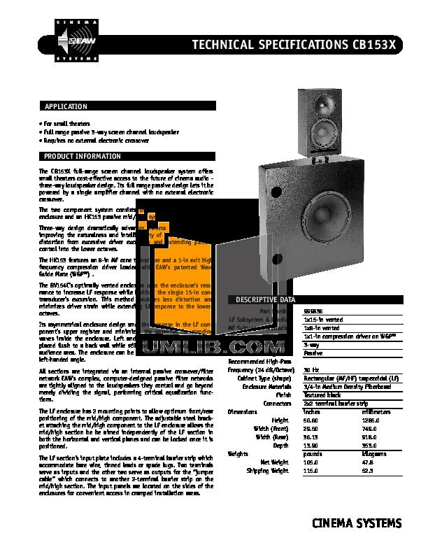 pdf for Eaw Speaker System Cinema CB153X manual