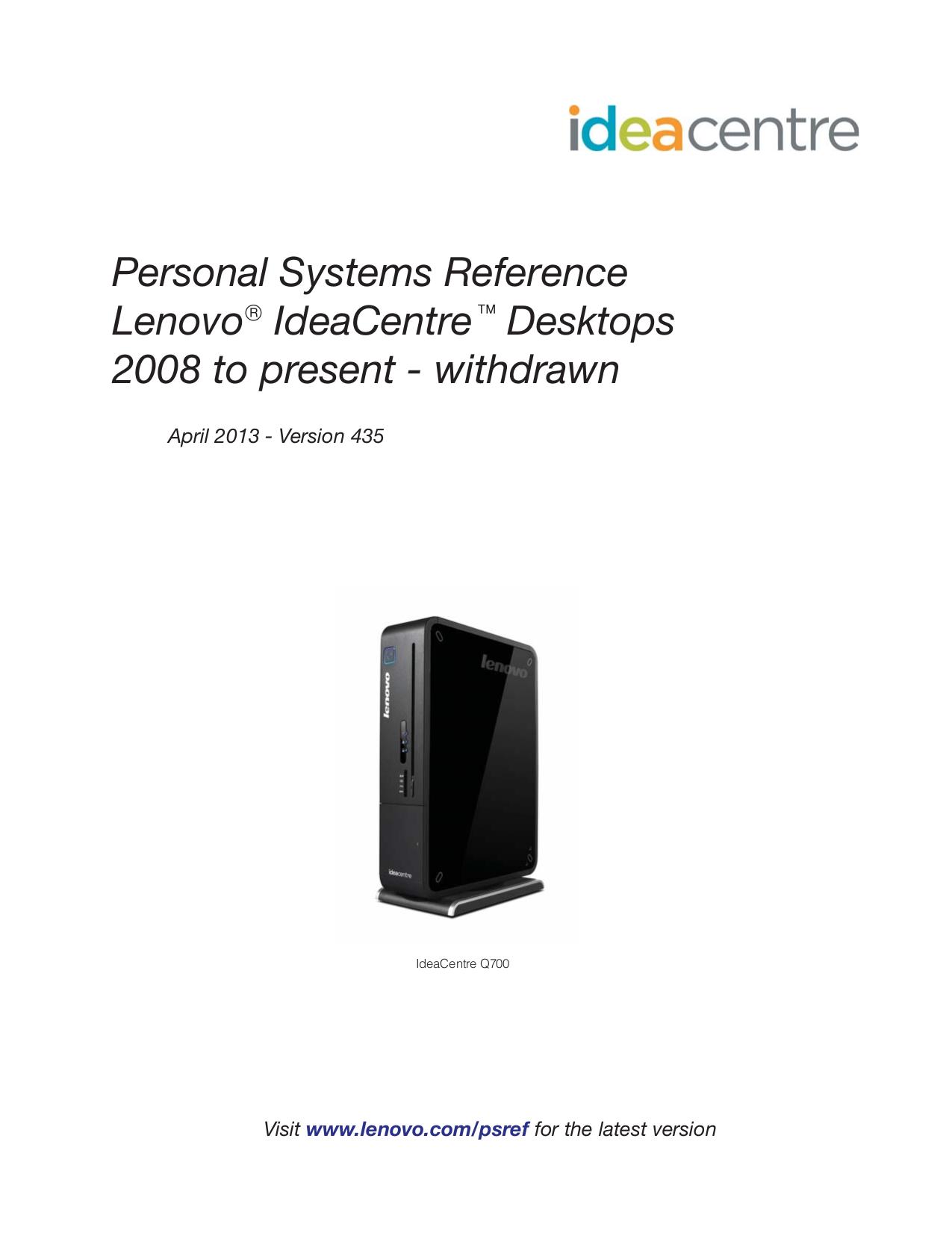 pdf for Lenovo Desktop IdeaCentre K220 5358 manual