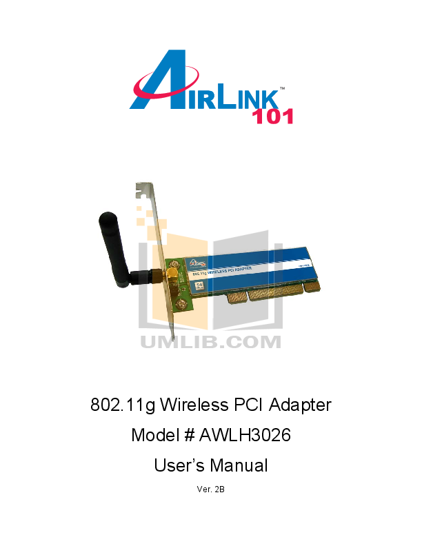 pdf for Airlink Other AWLH3026T Adapters manual