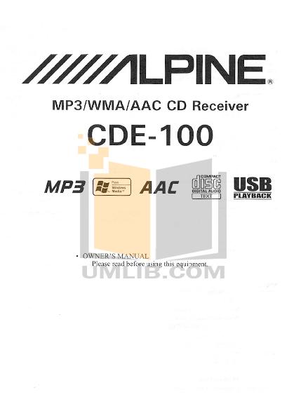 Alpine Car Video TME-M790 pdf page preview