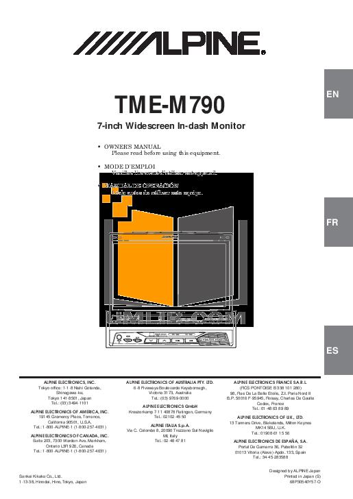 pdf for Alpine Car Video TME-M790 manual