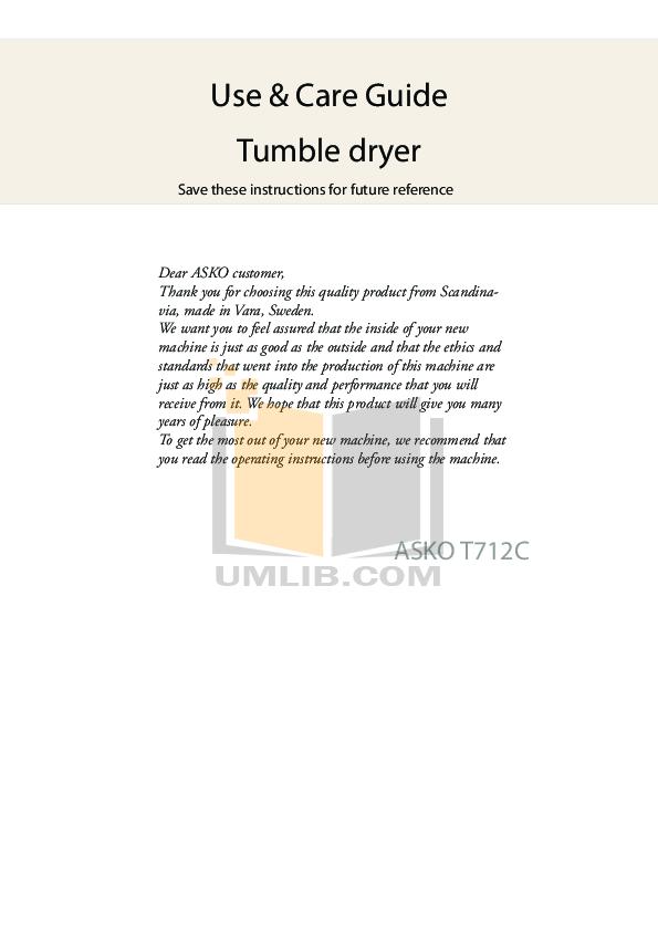 pdf manual for asko dryer t712c rh umlib com Asko Dryer T208vw Back Asko Dryer T701