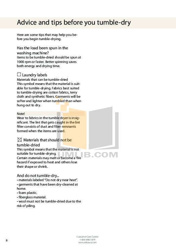 pdf manual for asko dryer t712c rh umlib com Asko Dryer Parts List Asko T700 Dryer Parts