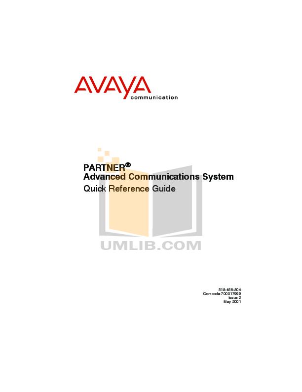 avaya partner acs programming manual