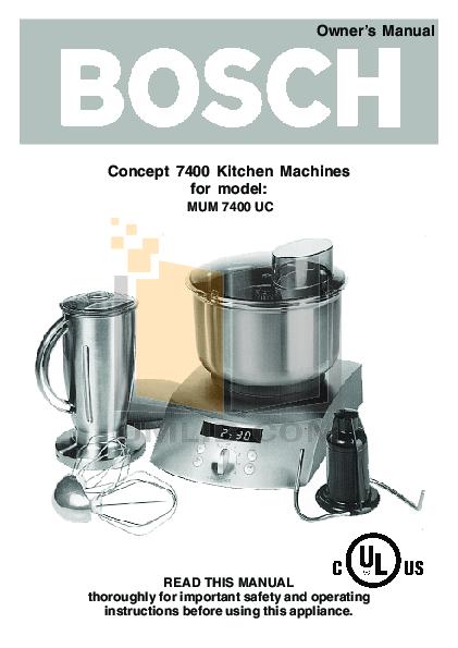 pdf for Bosch Food Processor MUM7400UC manual