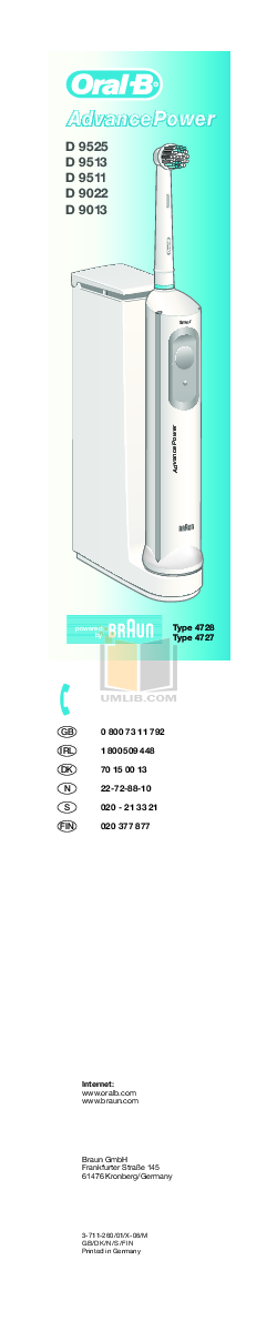 pdf for Braun Other D9525 Electric Toothbrush manual