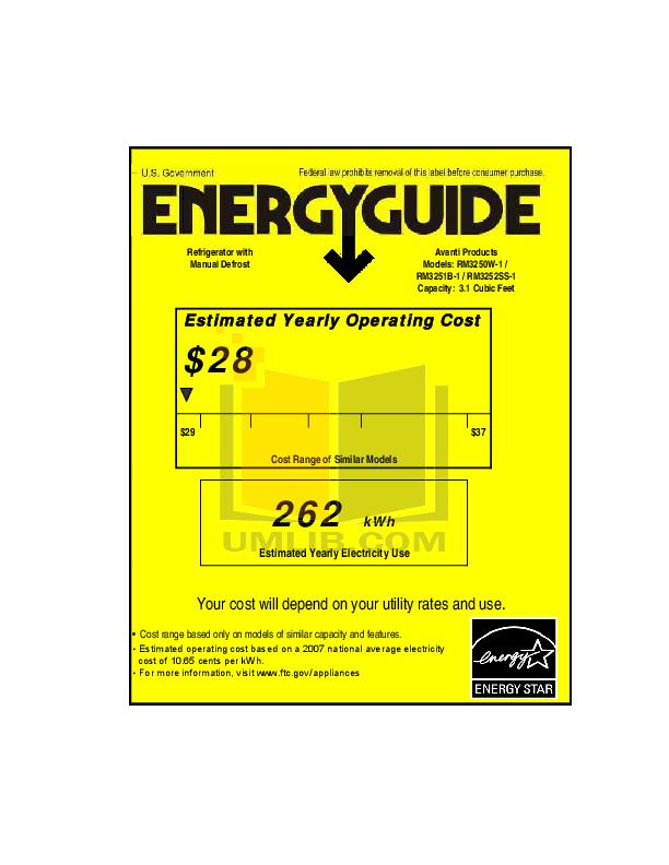 pdf for Avanti Refrigerator RM3250W manual