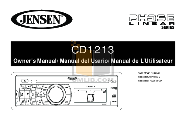 pdf for Audiovox Car Receiver CD-1213 manual