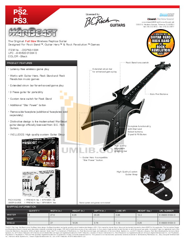 pdf for BCRich Guitar PS5WS manual