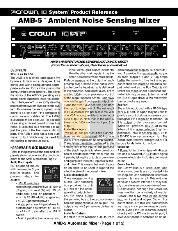 pdf for Crown Other AMB-5 IQ Mixers manual