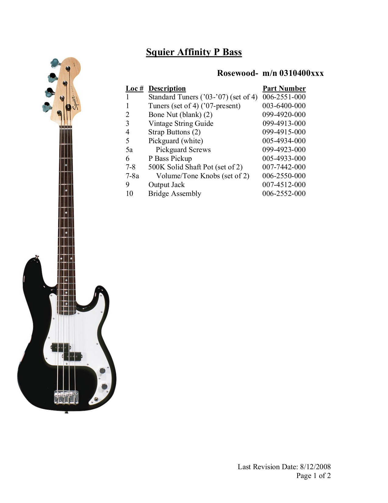 pdf for Squier Guitar Affinity P Bass manual