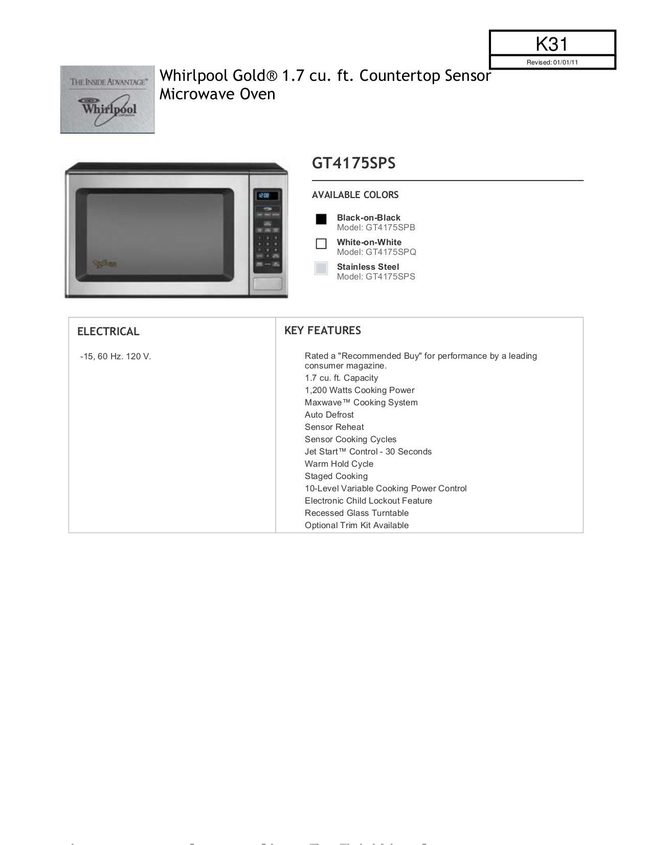 Free Pdf For Whirlpool Gold Gt4175sps Microwave Manual