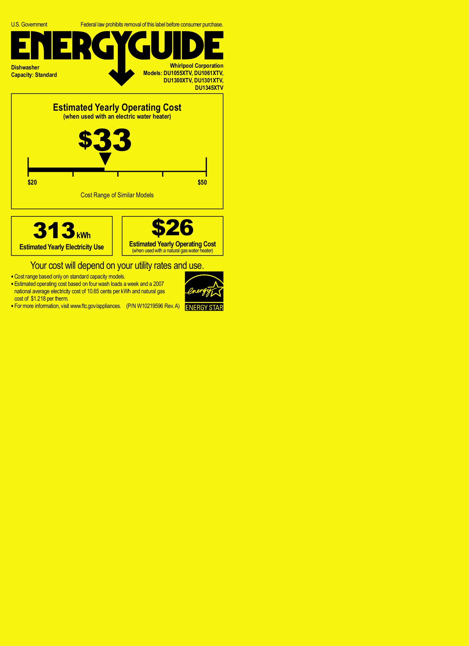 pdf for Whirlpool Dishwasher DU1345XTV manual