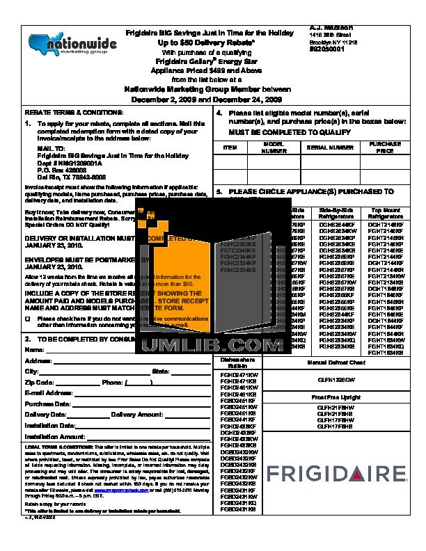 pdf for Frigidaire Refrigerator Gallery FGHT2146KR manual