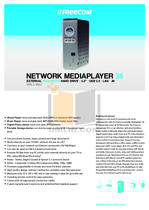 pdf for Freecom Storage Network Mediaplayer-35 manual