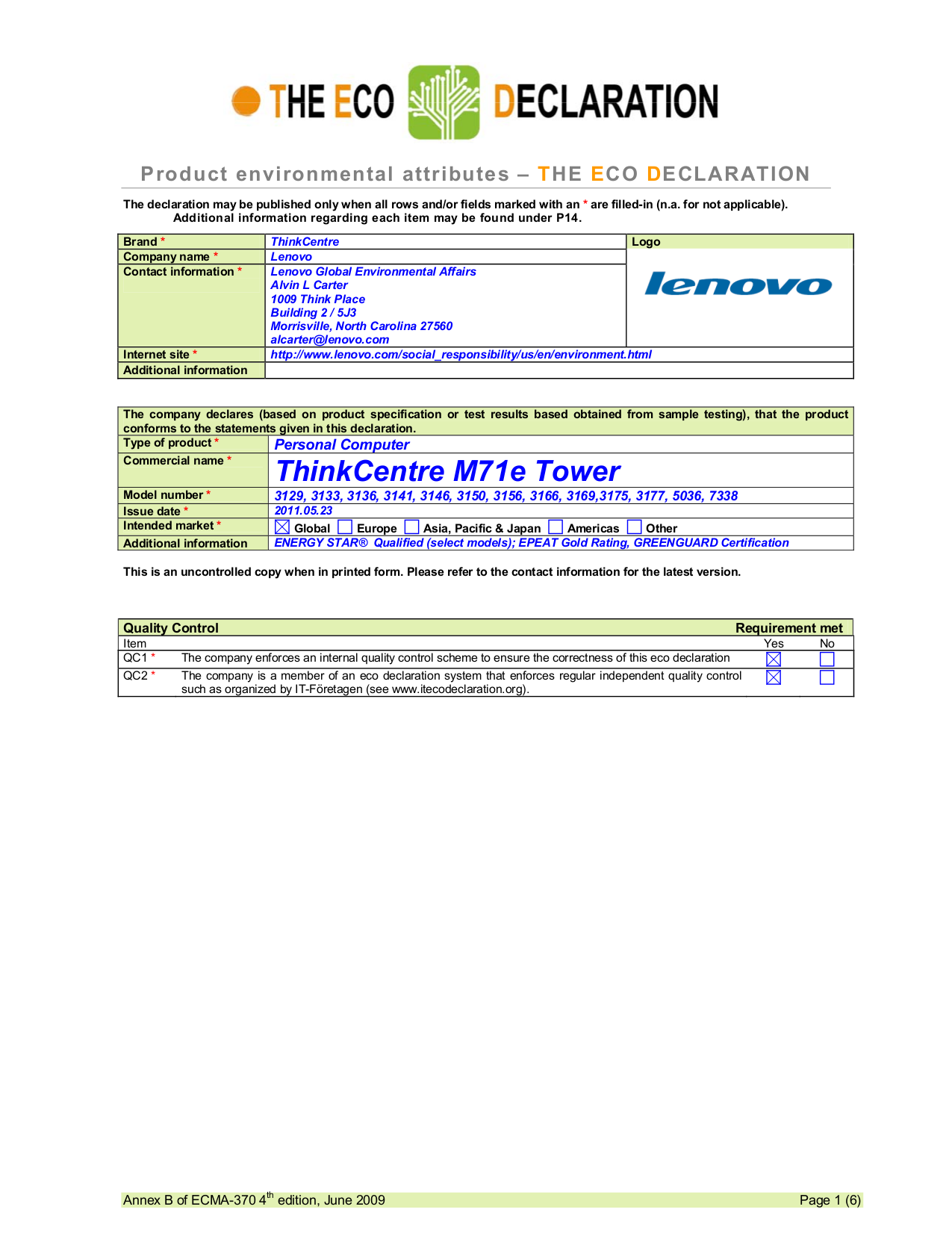 pdf for Lenovo Desktop ThinkCentre M71e 3166 manual