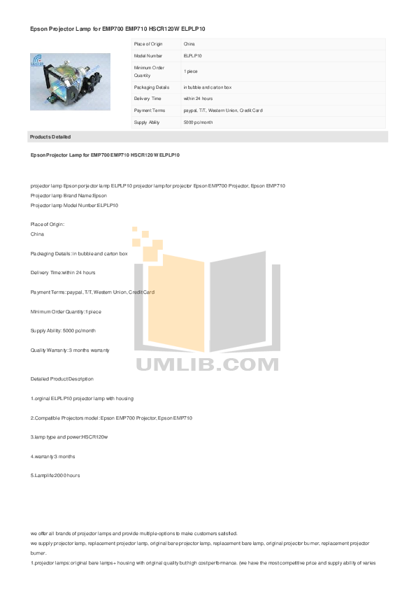pdf for Epson Projector EMP-710 manual