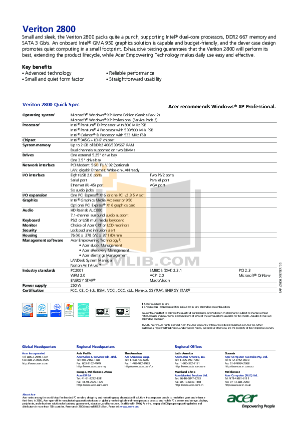 pdf for Acer Desktop Veriton 2800 manual