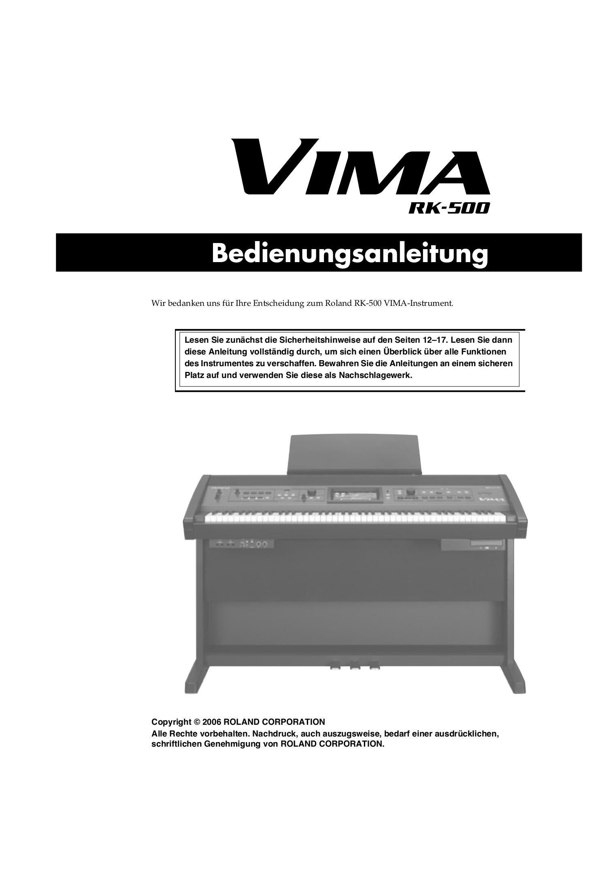 Download free pdf for Roland VIMA RK-500 Music Keyboard manual
