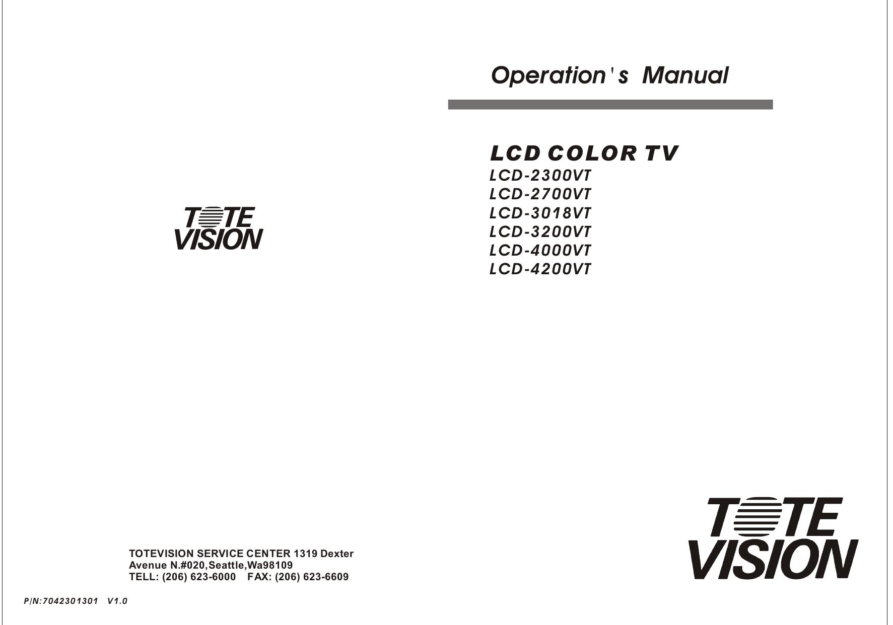pdf for Totevision TV LCD-3200VT manual