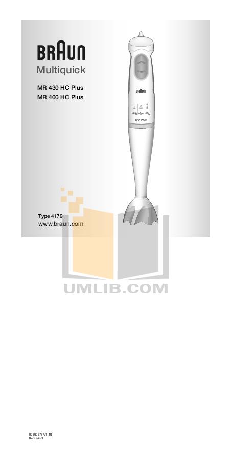 pdf for Braun Blender MR 400 Plus manual