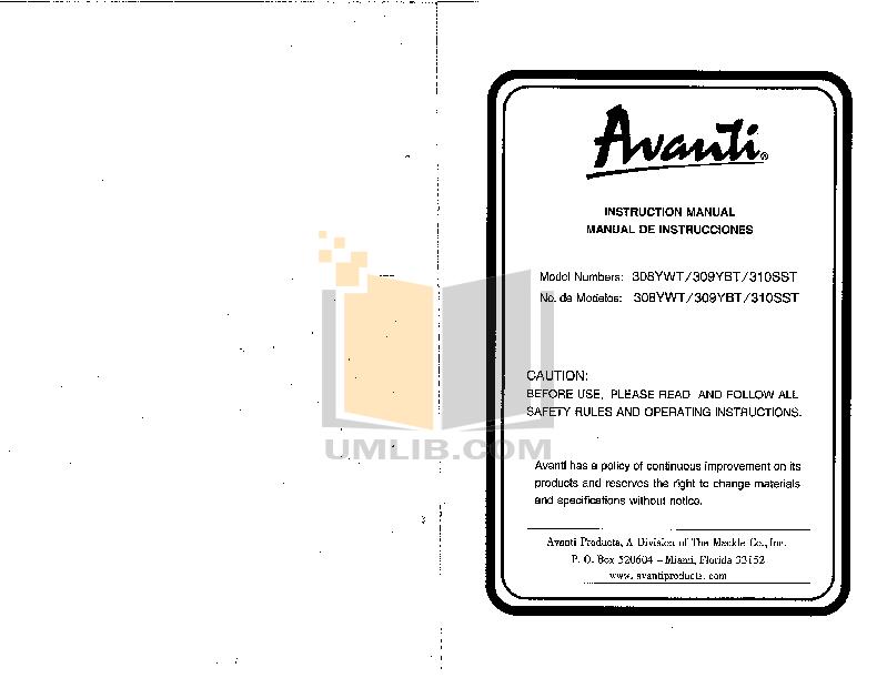 pdf for Avanti Refrigerator 309YBT manual