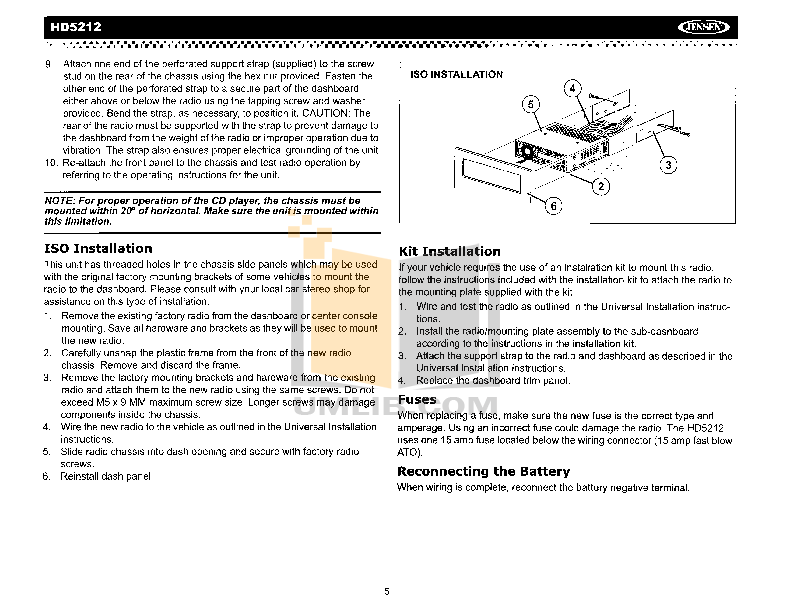 Audiovox Car Receiver HD5212 pdf page preview