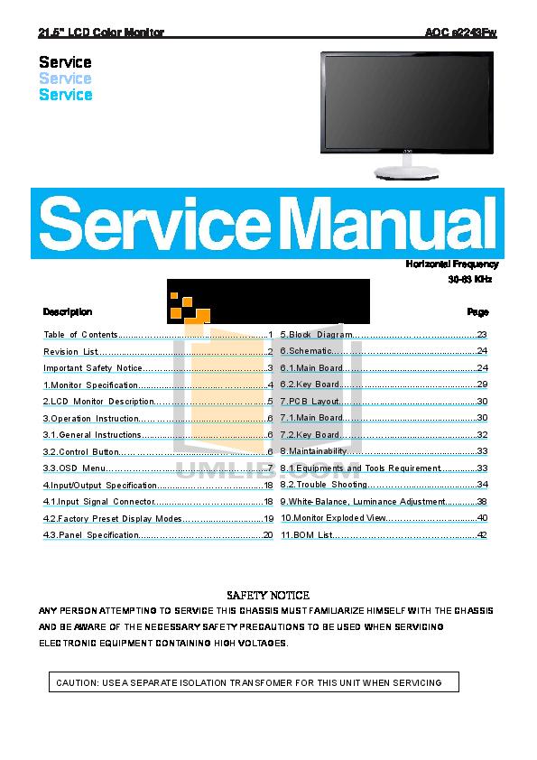 Download free pdf for AOC E2243Fw Monitor manual