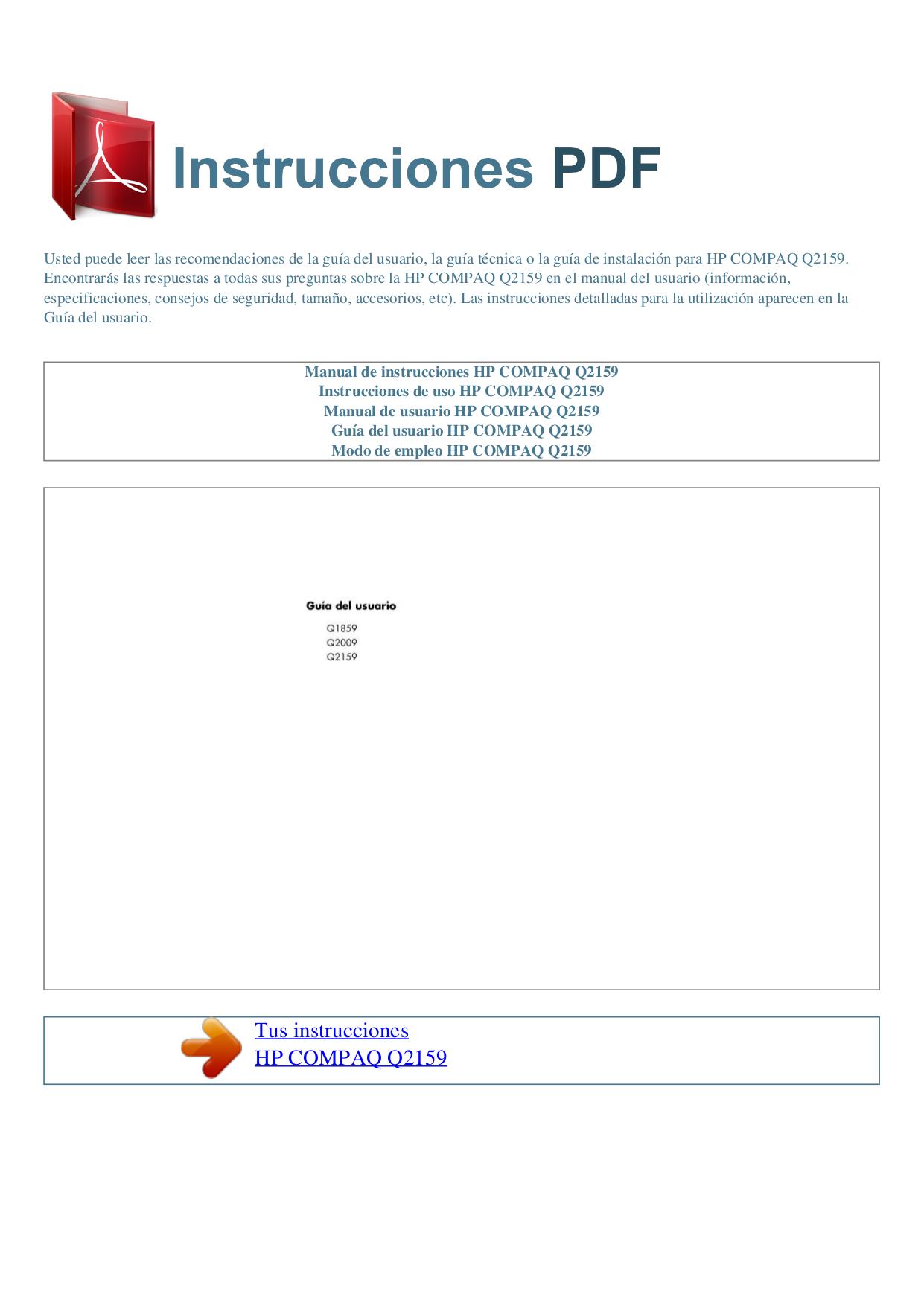 pdf for HP Monitor Compaq Q2159 manual