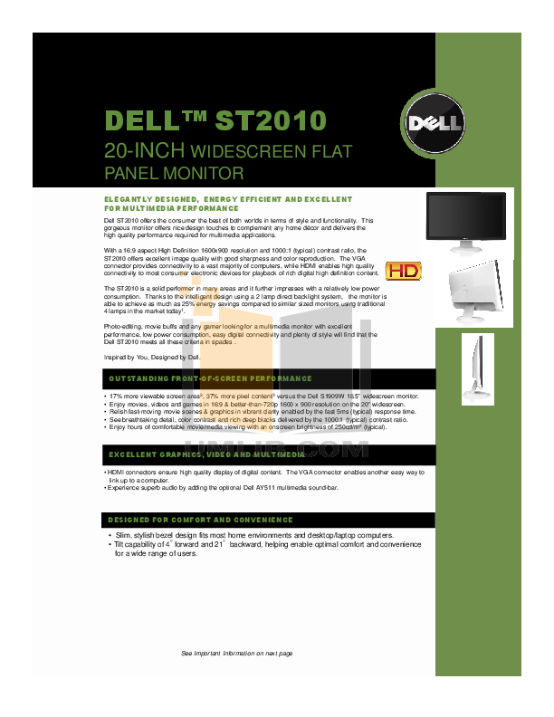 pdf for Dell Monitor ST2010f manual