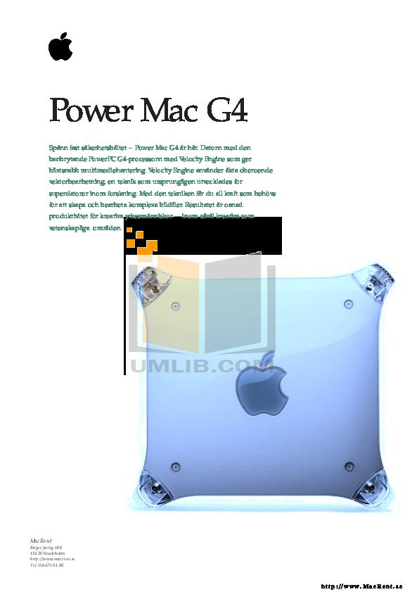 pdf for Apple Desktop Power Mac G4 M7629 manual