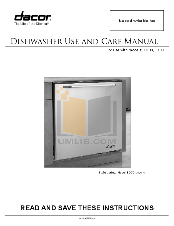 pdf for Dacor Dishwasher Integrated ID30 manual
