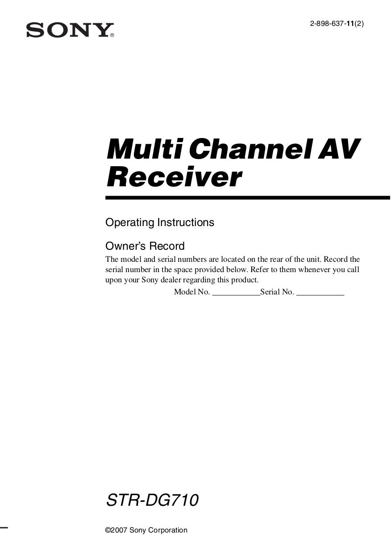 download free pdf for sony str dg710 receiver manual rh umlib com Sony STR- DG510 Receiver Sony STR- DG510 Receiver