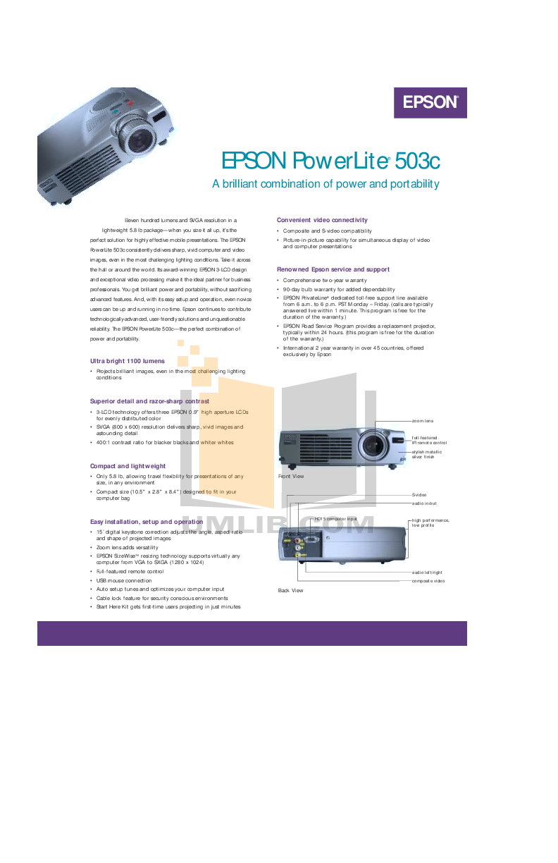 pdf for Epson Projector PowerLite 503c manual