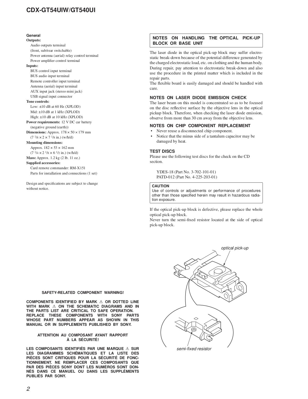PDF manual for Sony Car Receiver Xplod CDX-GT540UI