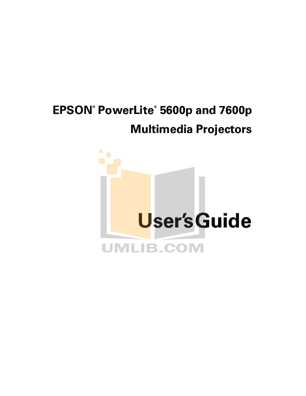 pdf for Epson Projector PowerLite 7600p manual