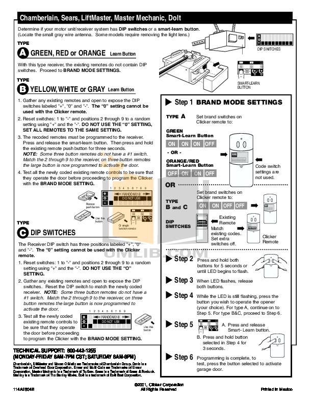 Chamberlain Garage Door Opener Keypad clicker garage door opener programming - wageuzi