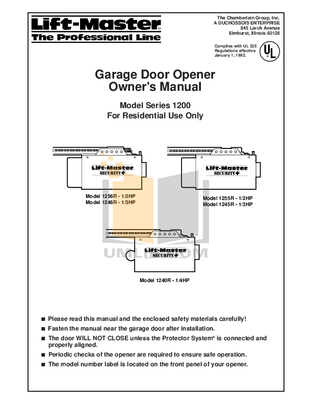 Pdf manual for chamberlain other liftmaster 1255 2r garage for Selecting a garage door opener