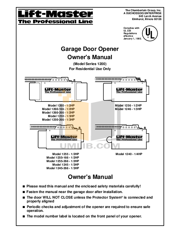 download free pdf for chamberlain liftmaster 1255 2r garage door