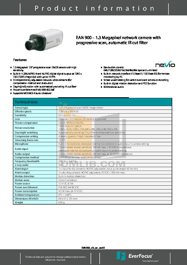 pdf for EverFocus Security Camera EAN900 manual