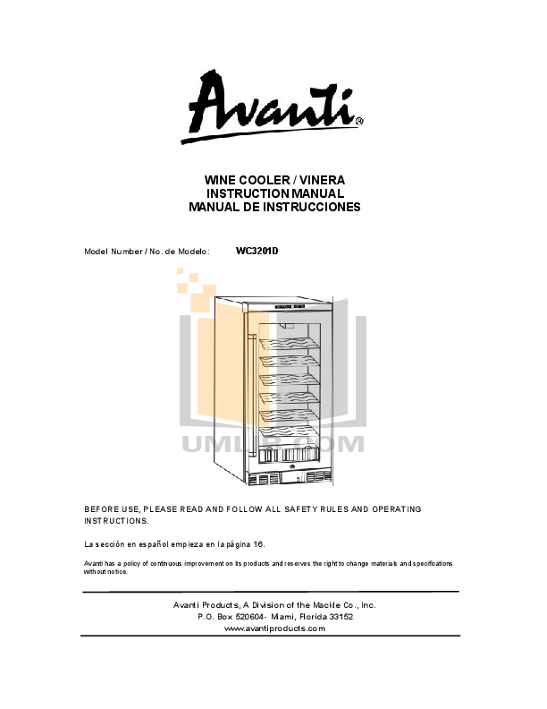 pdf for Avanti Refrigerator WC3201D manual