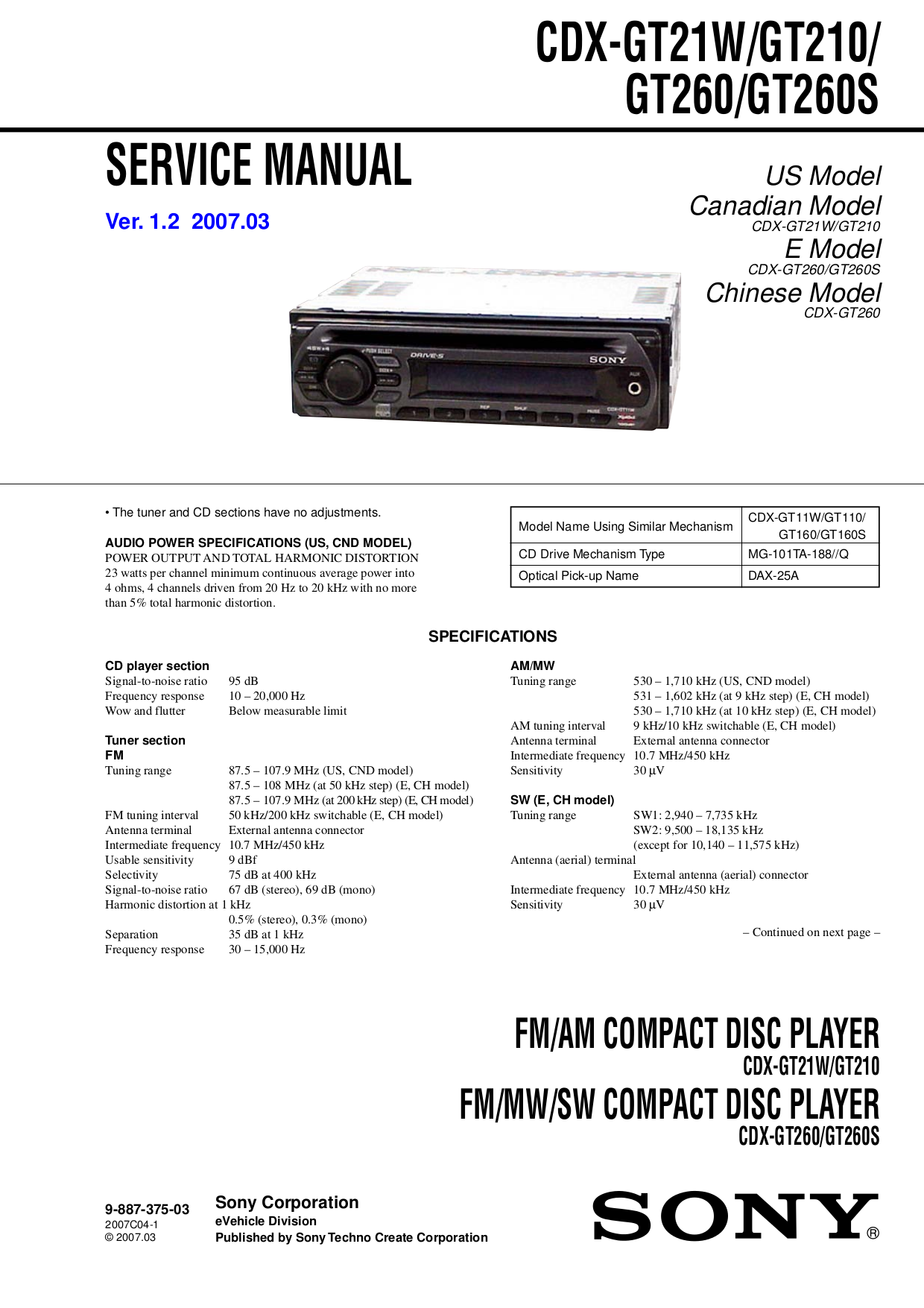 pdf for Sony Car Receiver CDX-GT210 manual