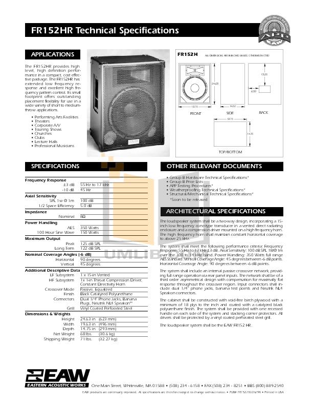 pdf for Eaw Speaker System FR152HR manual