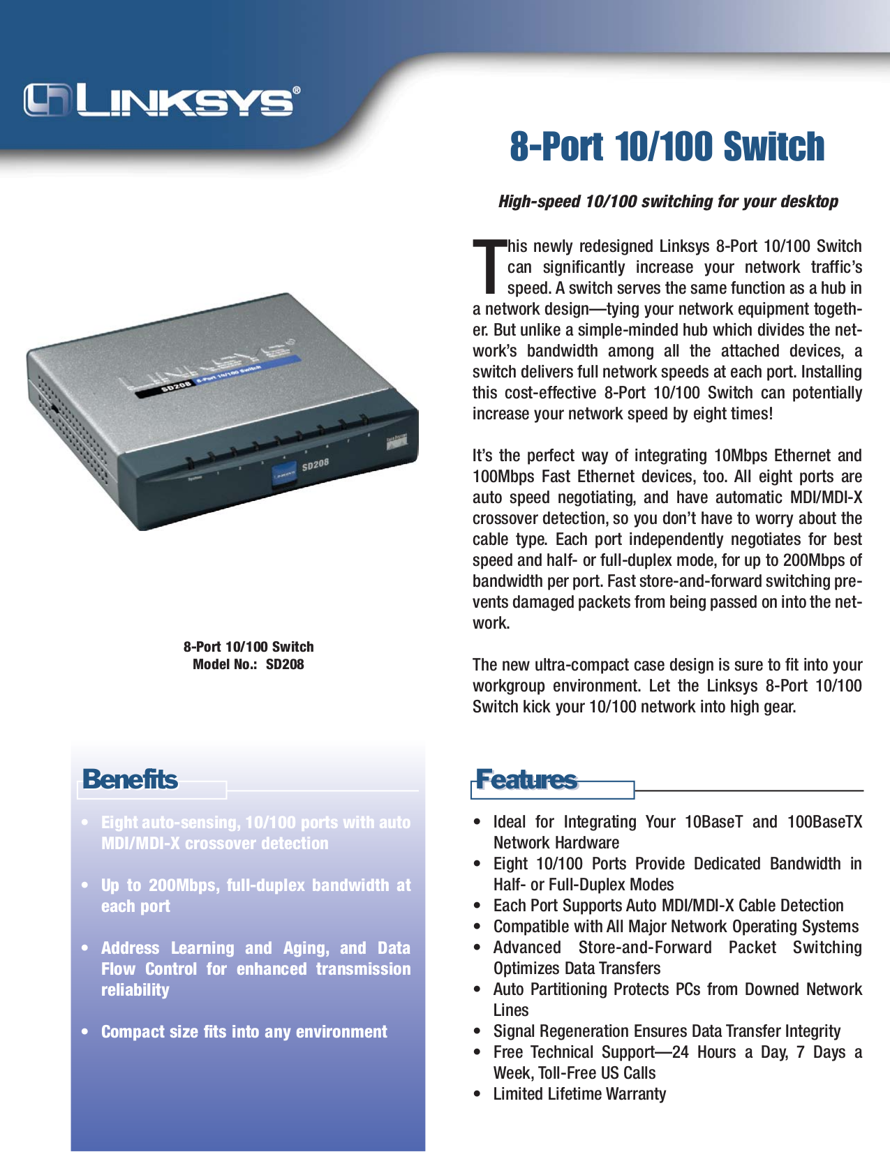 pdf for Linksys Switch SD208 manual