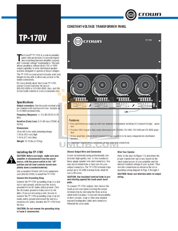 pdf for Crown Other T-170V Voltage Transformers manual