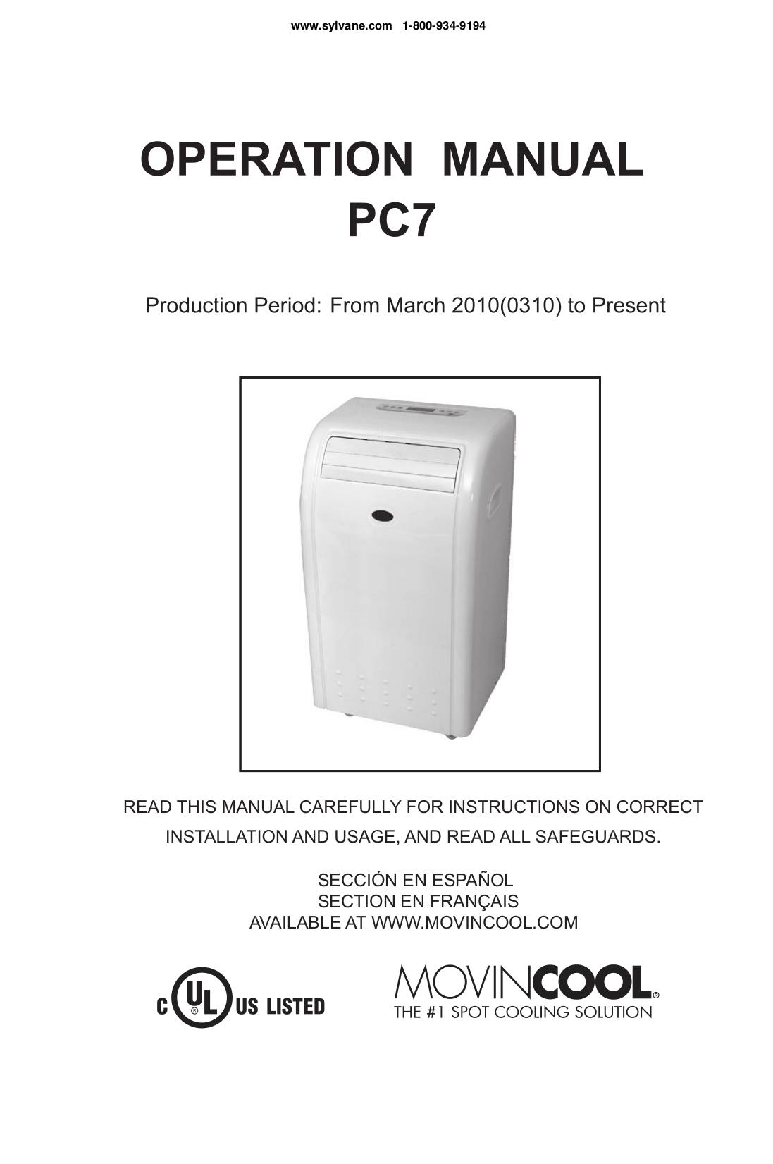Mec Portable Air Conditioner User Manual