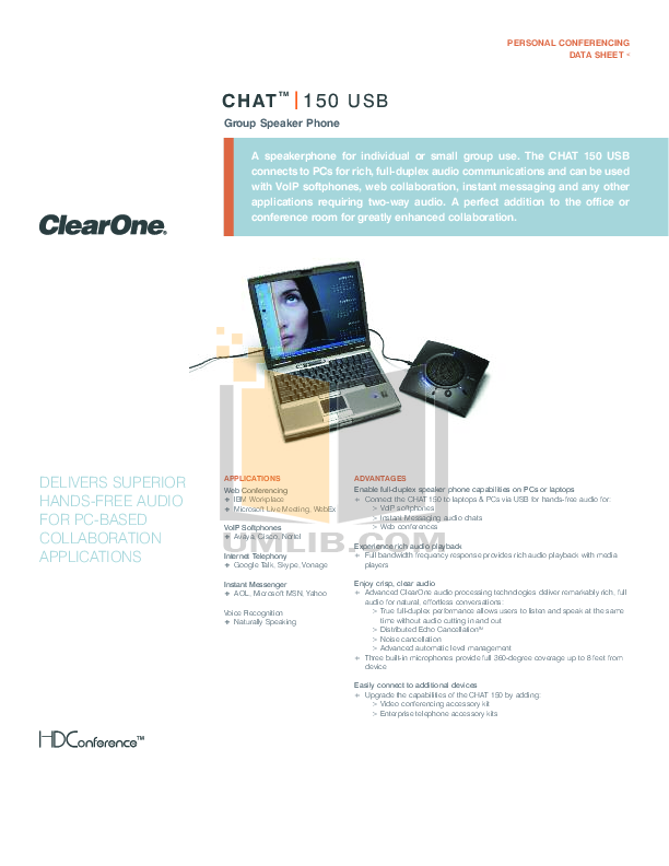 pdf for ClearOne Telephone Chat 50 manual