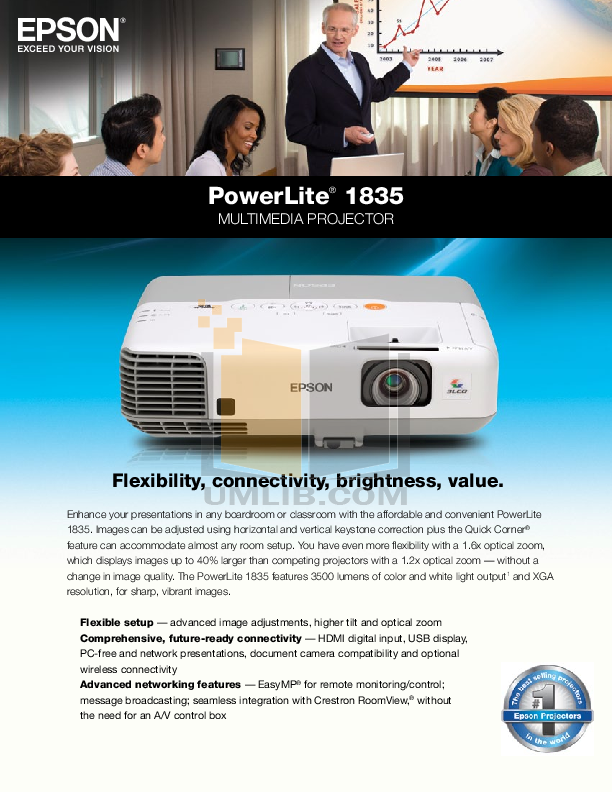 pdf for Epson Projector PowerLite 1835 manual