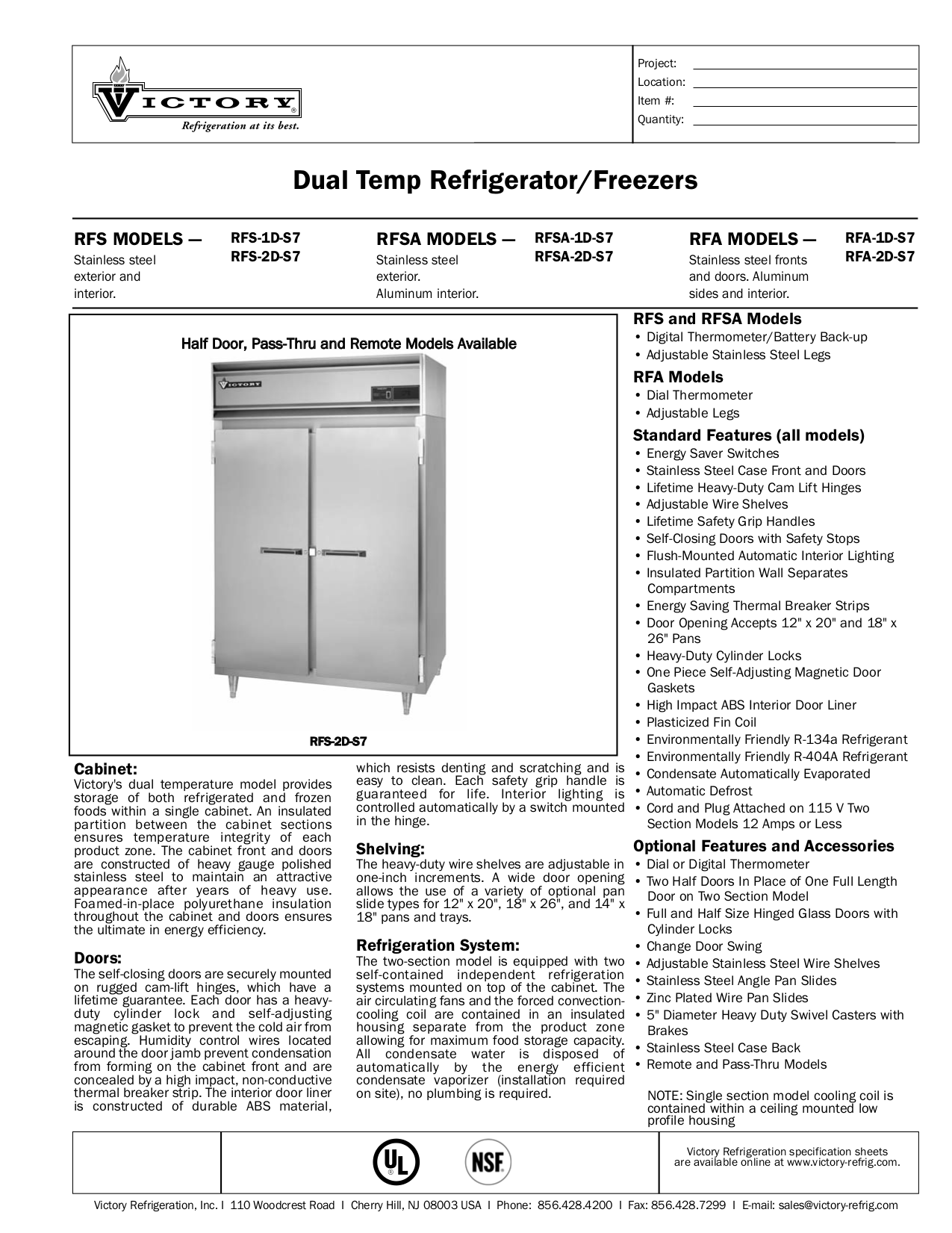 pdf for Victory Freezer RFS-2D-S7 manual