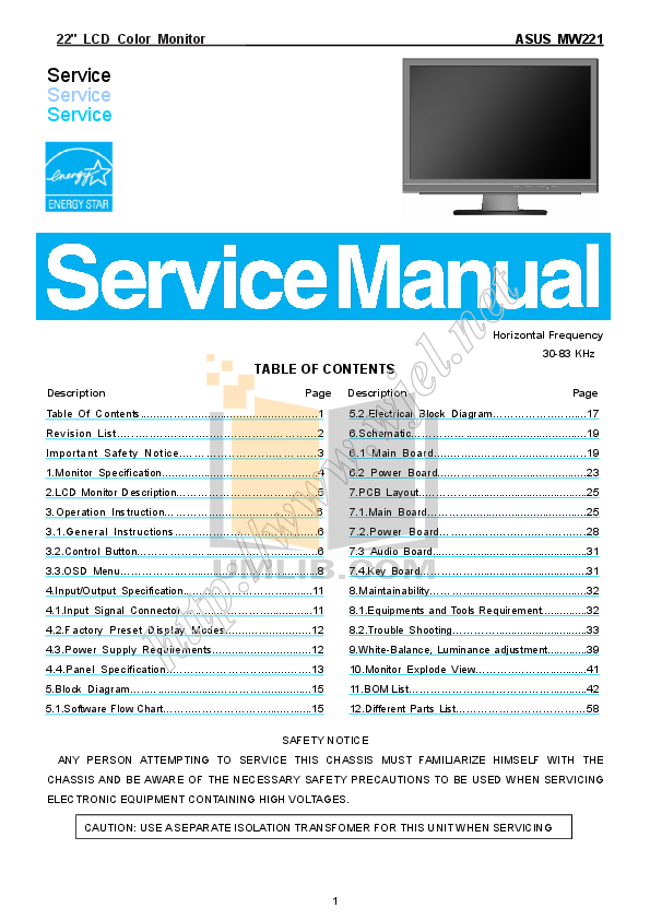 pdf for Asus Monitor MW221U manual